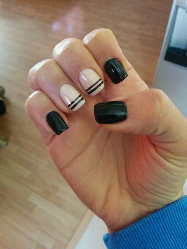 Nude/black gel nails | Gel Nails | Pinterest