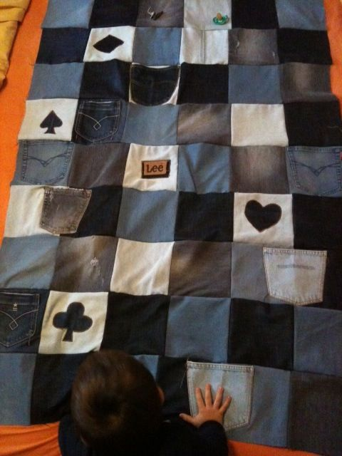 A blanket made with old jeans