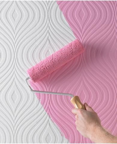 Could be a lot of possibilities here for the creative decorators & DIY'ers. Very interesting....just NOT that shade of pink;). Curvy Paintable Textured Wallpaper   Graham & Brown