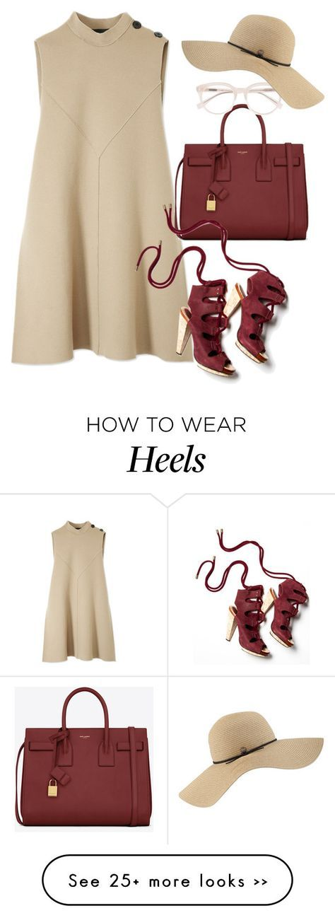 """""""Derek Lam Mock Neck Flare Dress"""" by thestyleartisan on Polyvore featuring Derek Lam, Yves Saint Laurent and Coal"""