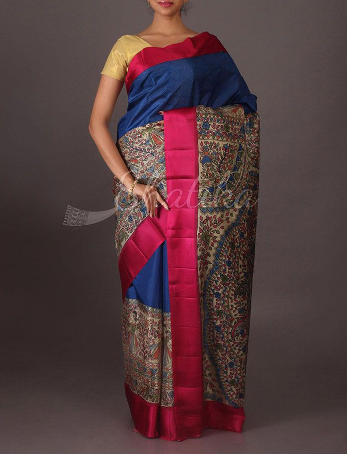Ahana Half and Half #PrintedSilkSaree in #Madubani Tones
