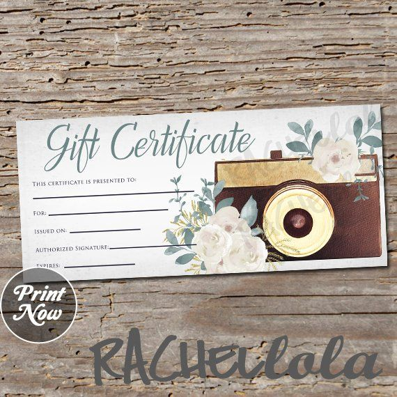 Editable Printable Custom Photography Gift Certificate Template Photo Session Voucher Card Digital Download Templett Floral Photographer In 2021 Gift Certificate Template Photography Gift Certificate Template Photography Gift Certificate