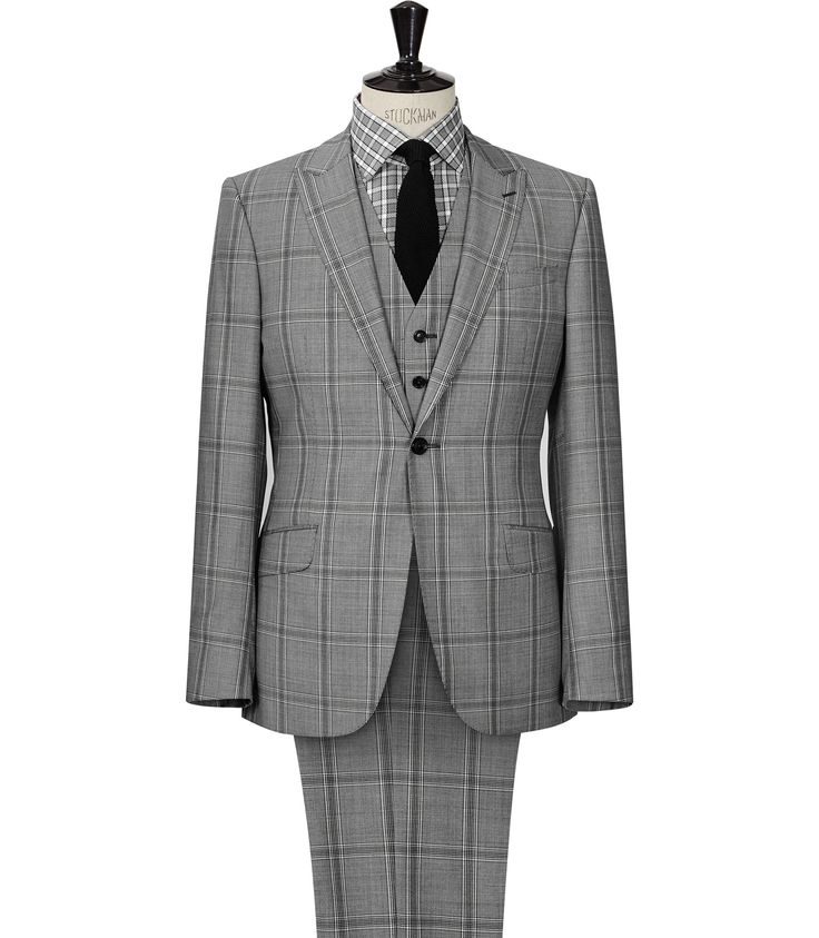 Mens Grey Large Check Suit - Reiss Avery