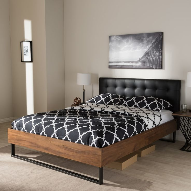 Baxton Studio Mitchell Industrial Platform Bed Upholstered