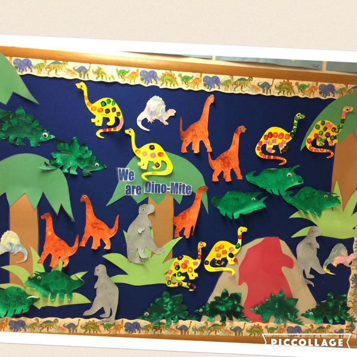 "Preschool Dinosaur bulletin board. ""We are Dino-mite!"""