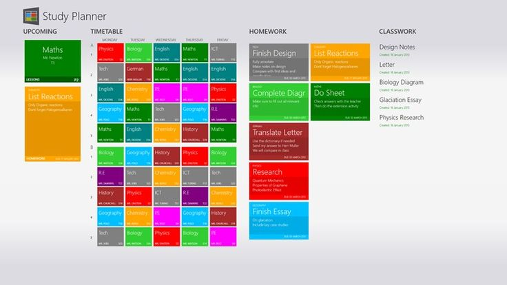 """Study Planner // Study Planner app for Windows in the Windows Store. """"This simple and elegant app makes organising yourself while studying a breeze.  The live tile automatically updates with your next lesson when you're in school and how many homeworks you have which are due soon when you're at home."""""""