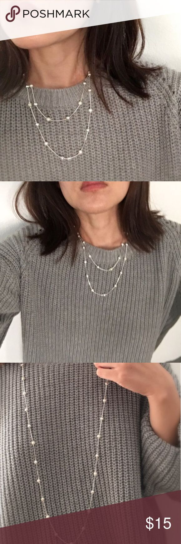 """Chic Modern Perfect Silver Long Necklace Elegant silver bead chain necklace. Length allows for you to choose it as a long necklace or wrap it to make it two. Shimmer and shine with sophisticated style this winter with this beautiful necklace! End to end length about 19 1/2"""" Jewelry Necklaces"""