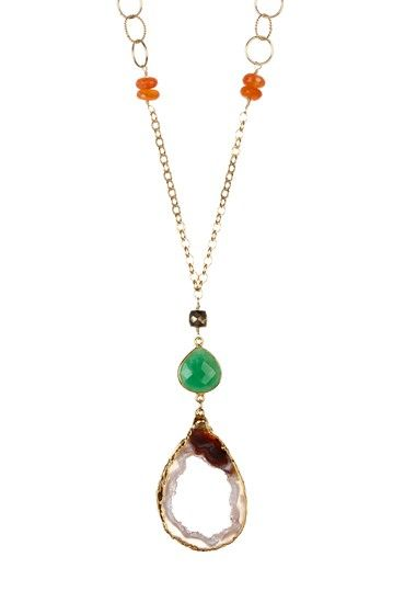 Sliced Geode, Chrysoprase & Gemstone Pendant Necklace by Vivian Tamayo on @HauteLook