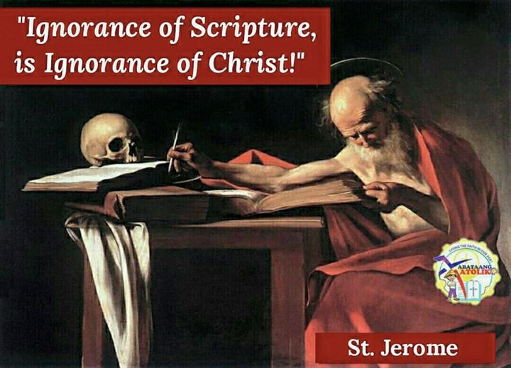 Saint of the Day #kabataangkatoliko  SEPTEMBER 30 ST. JEROME   St. Jerome was a Roman Christian who lived in the fourth century. His father taught him his religion well but sent him to a famous pagan school. There Jerome grew to love pagan writings and lost some of his love for God. Yet in the company of a group of holy Christians with whom he became great friends his heart was turned completely to God. Later this brilliant young man decided to live alone in a wild desert. He was afraid that…