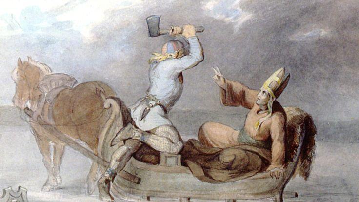 Lalli surmaa Henrikin. Maalaus CA Ekman 1854