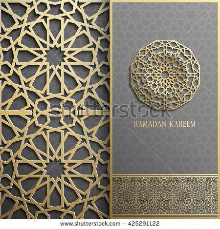 3d Ramadan Kareem pattern card,islamic style.Arabic circle pattern.Golden…