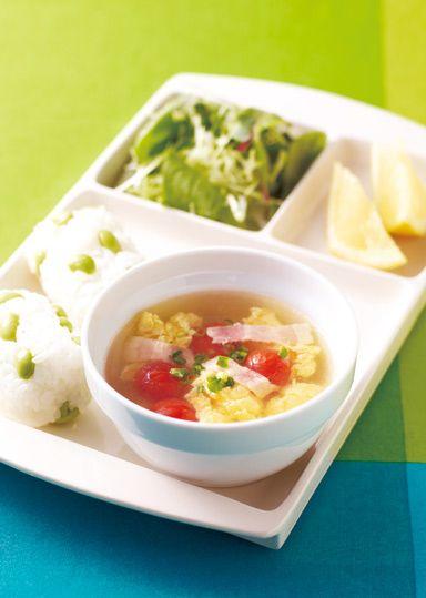 卵とプチトマトのさっぱりスープ のレシピ・作り方 │ABCクッキングスタジオのレシピ | 料理教室・スクールならABCクッキングスタジオ