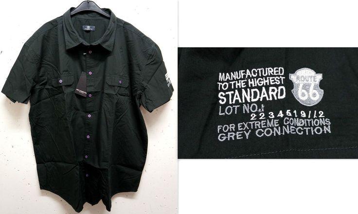 NEU Übergröße Herren Kurzarm Hemd in schwarz auffällige Knöpfe Gr.4 XL (49/50)