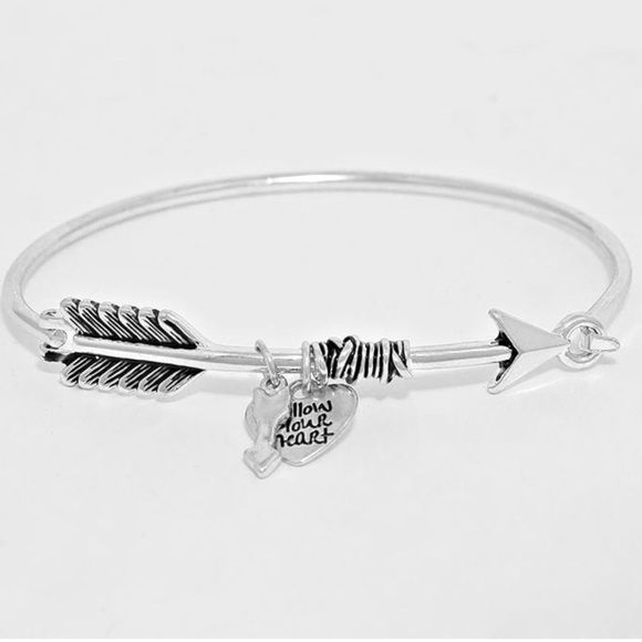 "Arrow Bracelet Brand New- Rhodium "" Follow Your Heart"" charm Arrow bracelet Boutique Jewelry Bracelets"