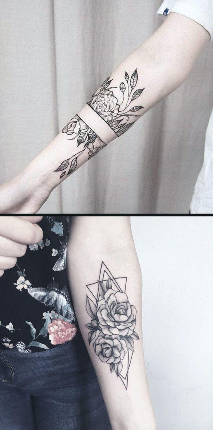 Geometrische Diamond Rose Forearm Tattoo-Ideen für Frauen – Black Wild Flowe … # Flower Tattoos   – Flower Tattoo Designs