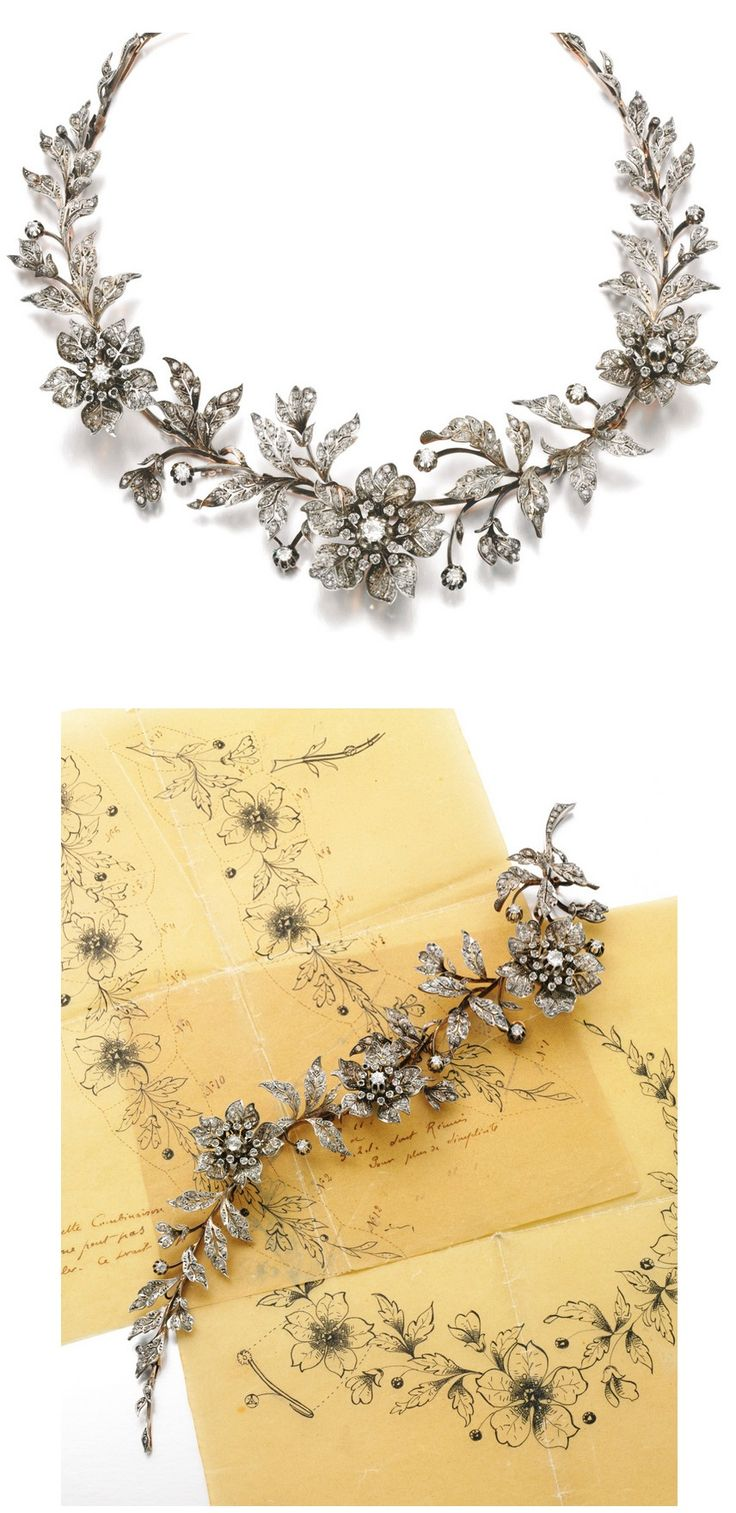DIAMOND TIARA, LATE 19TH CENTURY,  Designed as a foliate spray set with circular-cut and rose diamonds, the three flowers set en tremblent, fitted case, accompanied by three tiara frames, five hair pin fittings, four brooch pins and five original drawings depicting the various combinations for the jewels to be worn as a tiara, necklace, aigrette, brooches and corsage ornament, six small rose diamonds deficient.