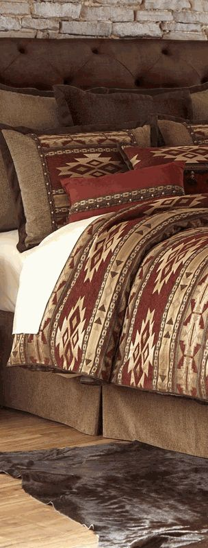 add luxury to your bedroom with the desert rust comforter set this comforter set is accented with arrow tribal geometrics in rust tan and chocolate
