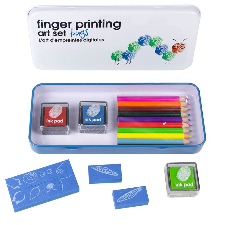 Each color printed tin contains 10 colored pencils, 10 stamps, 3 inkpads plus a color idea sheet.