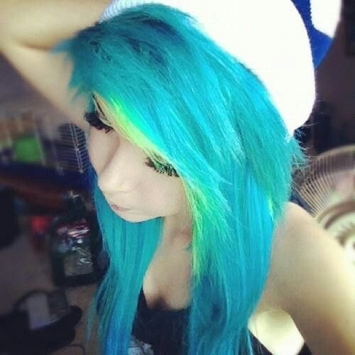 Neon blue and green hair | colorfuliest hairstyles | Pinterest