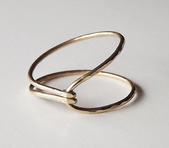 Hammered Asymmetrical Gold Filled Hug Ring by BellatrinaJewelry