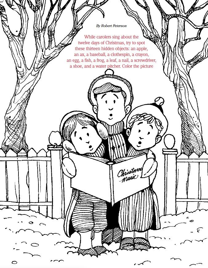 Lds games find and color christmas carols christmas for A christmas carol coloring pages to print