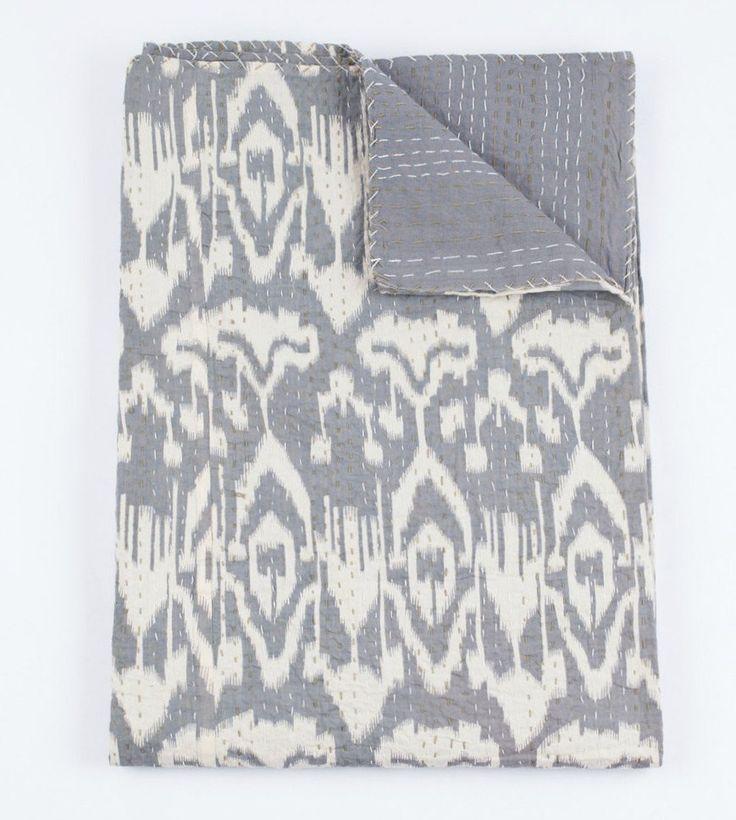 ON SALE Ikat Kantha Quilt In Gray, Kantha Quilt, Ikat Quilt, Ikat Blanket Throw, Kantha Blanket Throw, Ikat Kantha Bed Cover, Gray Blanket