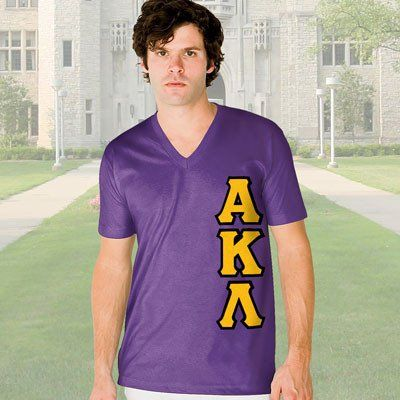 Alpha Kappa Lambda V-Neck T-Shirt - Vertical - American Apparel 2456 - TWILL
