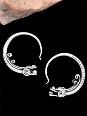 Hmong Tribal Jewelry Gargoyle Hoop Earrings - Gauged Tribal Jewelry