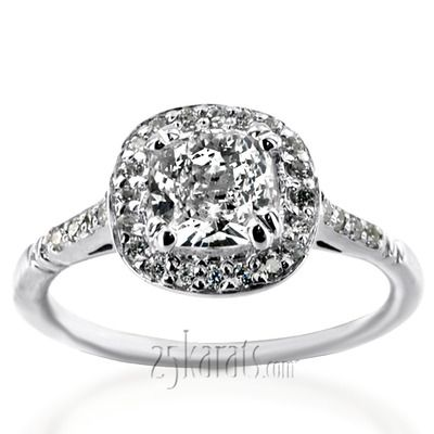 Micro Pave Halo Antique Inspired Diamond Engagement Ring (1/5 ct. t.w.) #diamond #engagementring #25karats