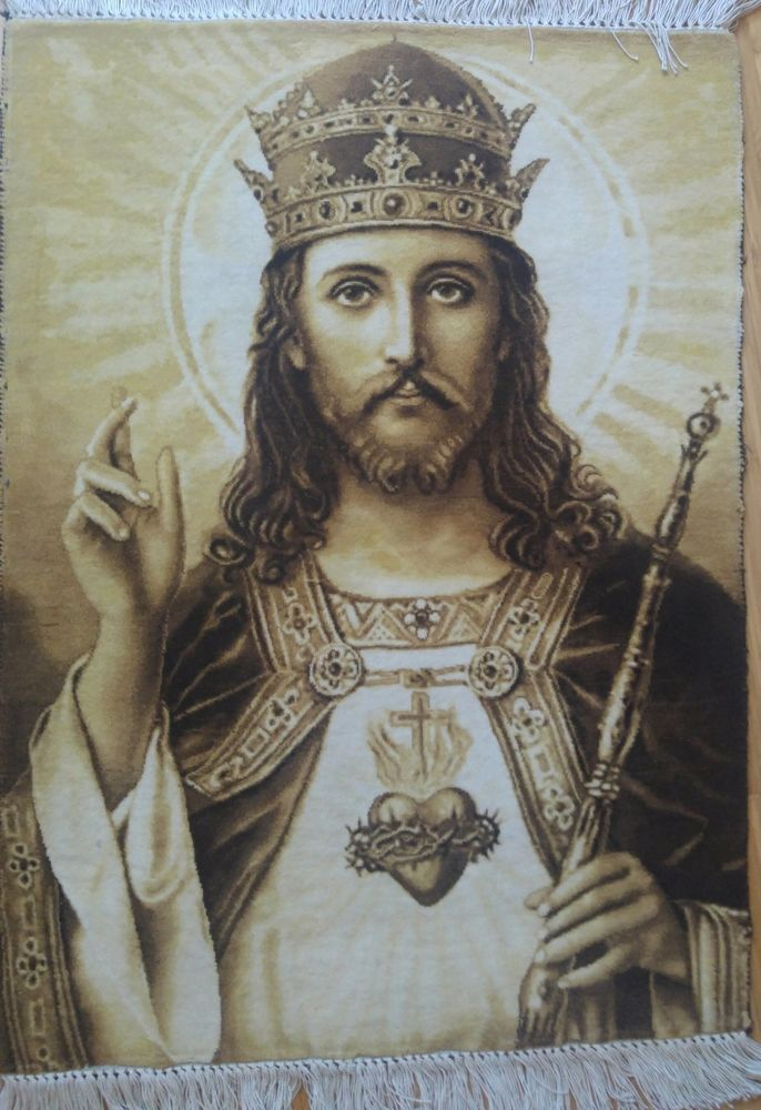 Vintage Hand Knotted Persian Rug Tabriz Carpet Jesus Christ Wall Hanging Picture Handknotted Traditio Hand Knotted Persian Rug Christ The King Jesus Painting