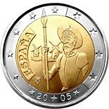 2 euros commemorative coin Spain 2005  Feature : 4th Centenary of the first edition of Miguel de Cervantes' El ingenioso hidalgo Don Quixote de la Mancha Country : Spain Year : 2005 Volume : 8 million coins Date : 1 April 2005 Hashtags : #2euros #commemorative #coin #Spain #2005  Description : The centre of the coin displays Don Quixote holding a lance, with the windmills from one of his most   http://www.luxeurocoins.com/2-euros-commemorative-coin-spain-2005/