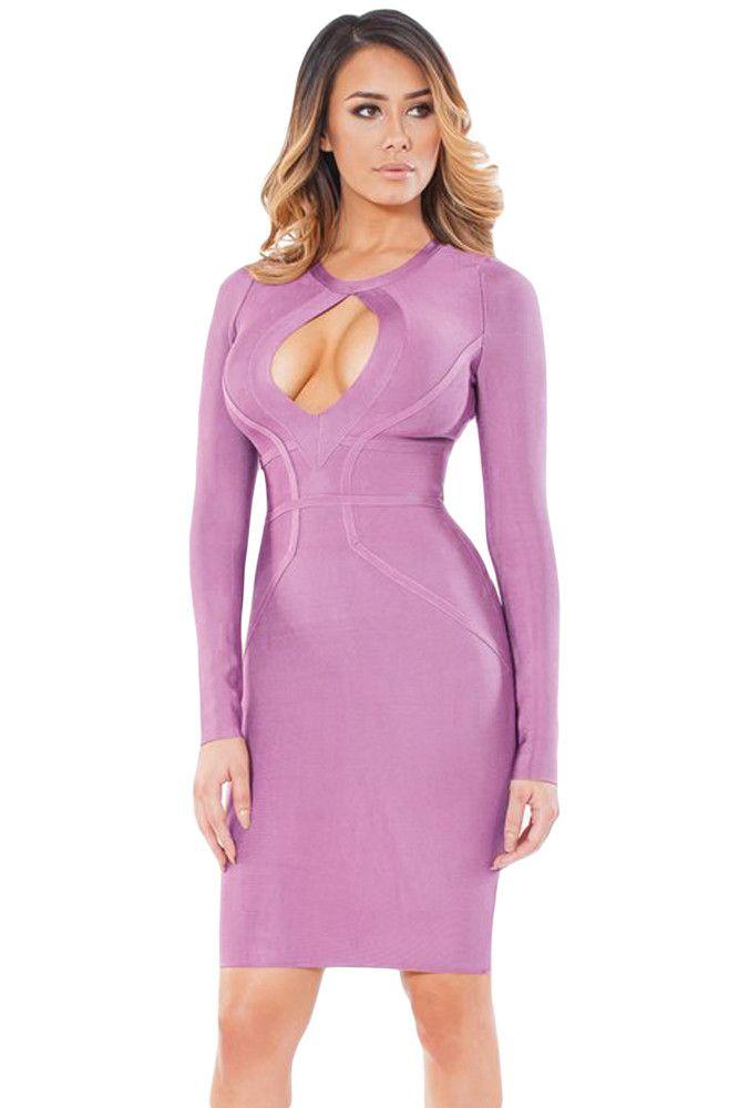 $67.73 Buy Cheap Purple Cutout Keyhole Front Center Long Sleeve Bandage Dresses at Online Shop http://en.modebuy.com @modebuyshop #modebuyshop @modebuy #modebuy #Purple  #so #look #design #dress #out #me