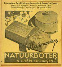 Rond 1950 werd er voornamelijk boter gemaakt. De afgewerkte boter werd verpakt in vaten die bekleed werden met perkament papier #Boter #Affiche #Geschiedenis #reclame #Vroeger