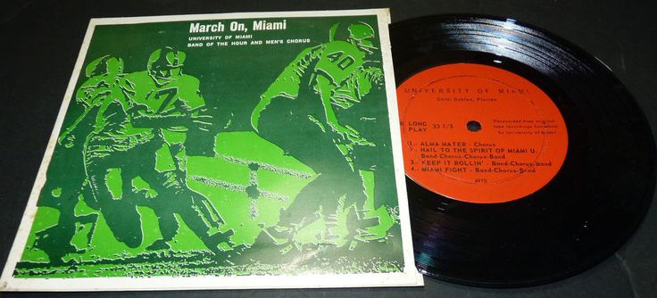 University of Miami Hurricanes Canes UM Football Miami Fl Band LP Record Rare