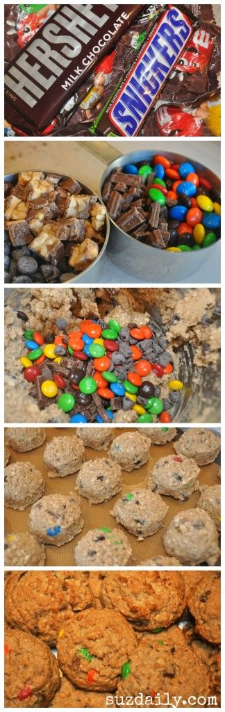 What to do with left-over Halloween Candy.  You can feel good about making these - they are full of whole grains ;)