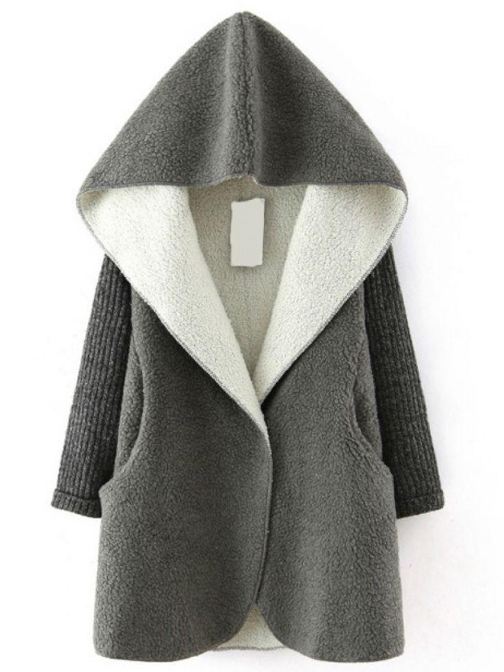 Buy Grey Hooded Sweater Long Sleeve Loose Coat from abaday.com, FREE shipping Worldwide - Fashion Clothing, Latest Street Fashion At Abaday.com