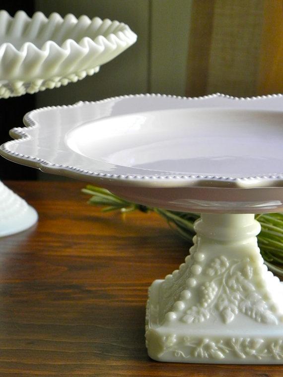 Milk Glass Cake Pedestals
