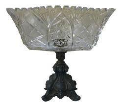 Vintage Footed Glass & Metal Bowl on Chairish.com