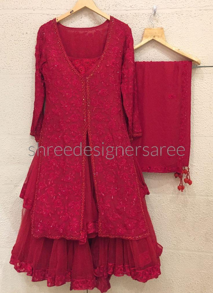 Buy Maroon Chiffon Lehenga Style Designer Suit Online