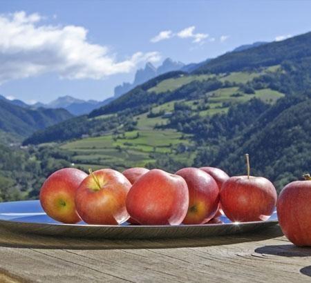 Le mele e i paesaggi del sudtirolo.