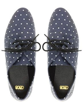 Asos Monaco Lace Up Flat Shoes with Polka Dot PrintPolka Dots Shoes, Polka Dot Shoes, Shoes Flats Oxfords, Monaco Lace, Flats Shoes, Flat Shoes, Dots Prints, Dots Oxfords, Asos Monaco