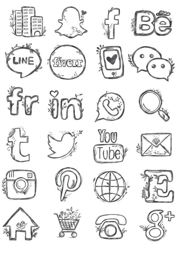 48 Hand Drawn Social Media Icons Social Media Buttons Social Etsy Social Media Icons How To Draw Hands Blog Buttons