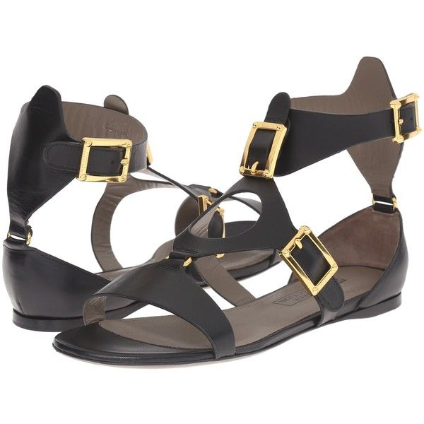 Versace Collection Oro Bizantino Sandal (Nero) Women's Sandals (36970 RSD) ❤ liked on Polyvore featuring shoes, sandals, black, black platform shoes, black shoes, slip on sandals, black platform sandals and platform sandals