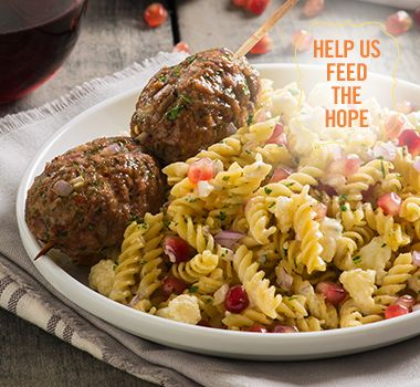 Middle Eastern Tahini Pasta Salad and Kebabs | For every Facebook share or download of our Pasta to the Rescue cookbook or its recipes, we're donating portions of pasta to food banks across Canada. Visit https://www.catelli.ca/en/feed-the-hope/ to learn more.