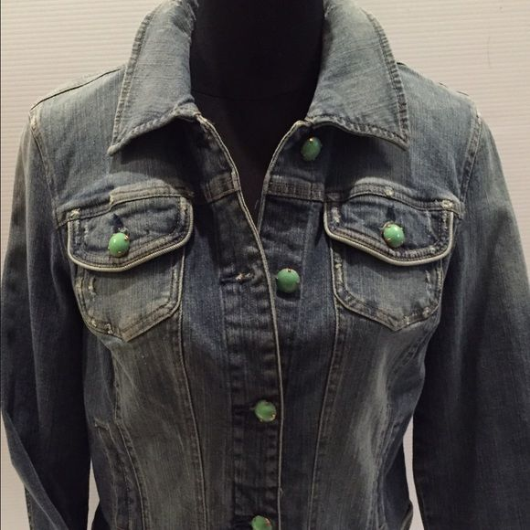 I•N•C• Denim Distressed Washed Jacket w/ Buttons Perfect this summer to throw over those maxi dresser - tanks! By I•N•C this denim Cropped Jacket has beautiful color stone buttons - light distressed Denim ! Excellent condition! INC International Concepts Jackets & Coats Jean Jackets