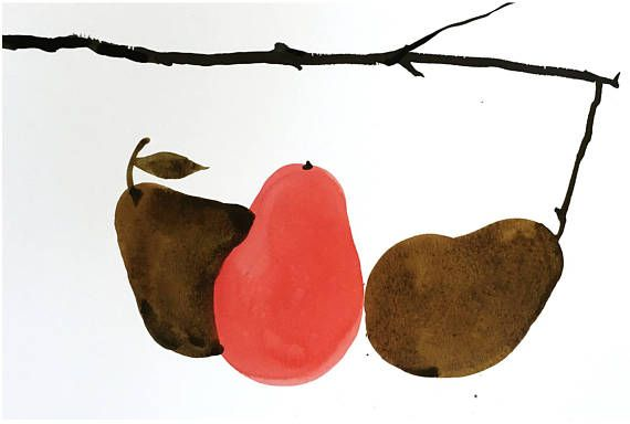 Still Life Pears Happy Dots Shapes Design Chinese