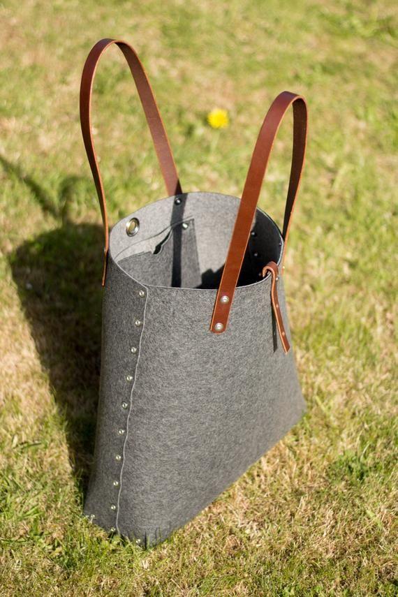 Felt Shopper Shoulder Bag Shopper Bag Felt Tote Bag Felt Shoulder Bag Wool Felt Bag Tote Bag Carry All Bag