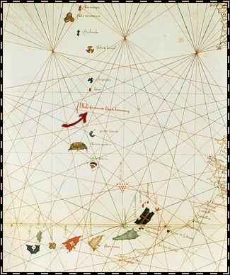 Gracioso Benincasa  Atlas nautique de  l'océan Atlantique nord-est (détail) 1467  Les portulans vont suivre une évolution. Si les ports délimitent toujours les côtes, les regards vont se braquer de plus en plus vers l'ouest. Sur cette carte de Gracioso Benincasa, on remarque les Açores, Madère, les Canaries et l'île de saint Brendan.