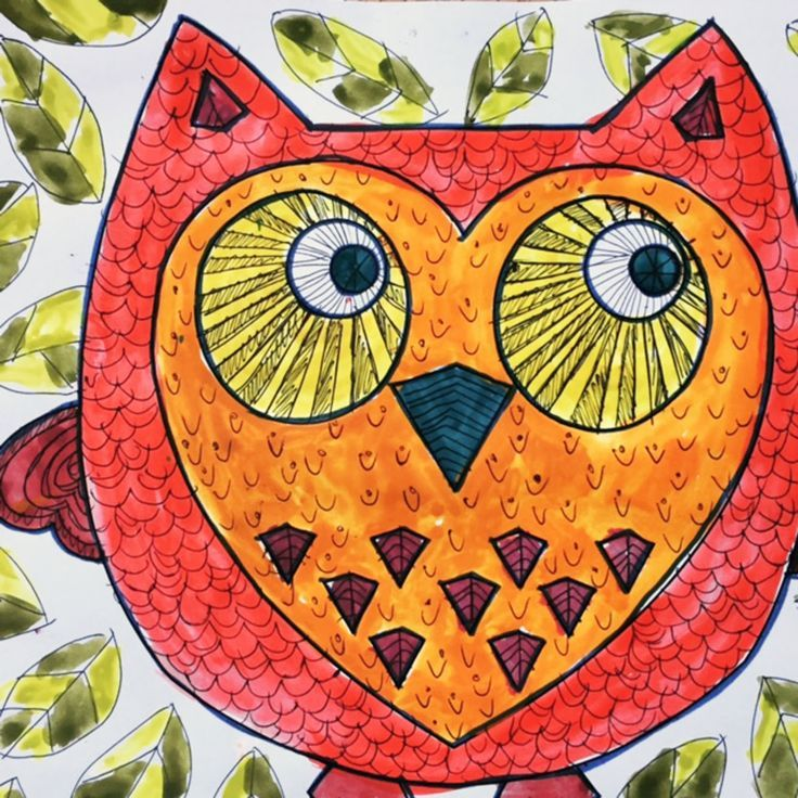 Autumn Owl Doodle, with watercolors. Free template to download  - students can add their own feather pattern.