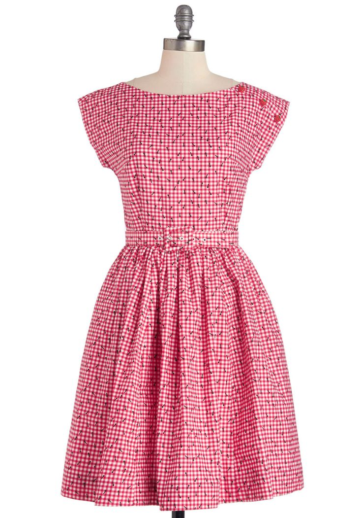 No Ifs, Ants, or Buts Dress. Your darling, gingham dress from Bea  Dot may be adorned with crawling critters, but your picnic blanket certainly is not! #red #modcloth